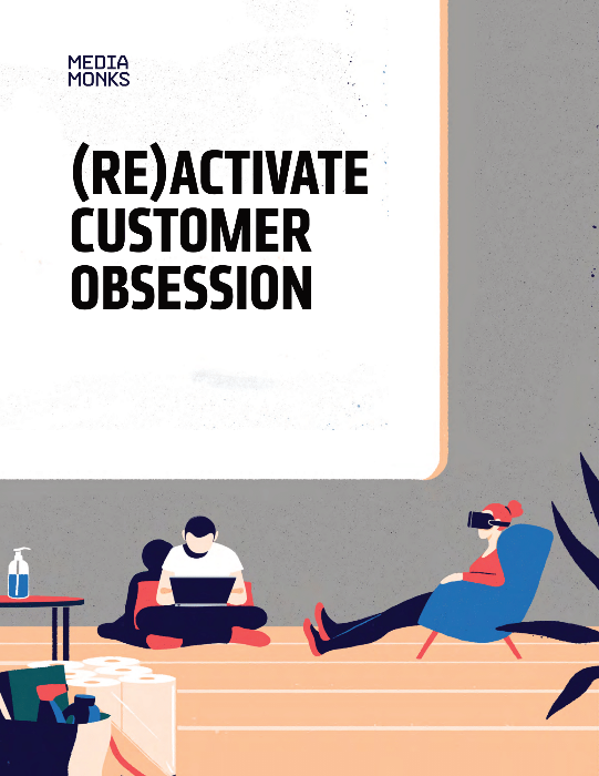 MediaMonks Reactivate Customer Obsession PDF showcasing illustrated people in a marketing studio in neutral colors