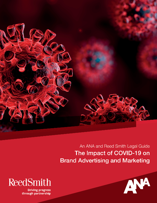 An ANA downloadable PDF regarding COVID-19 - red background and white text.